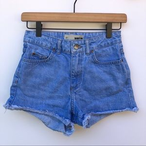 Topshop Moto High Waisted Cut Off Jean Shorts